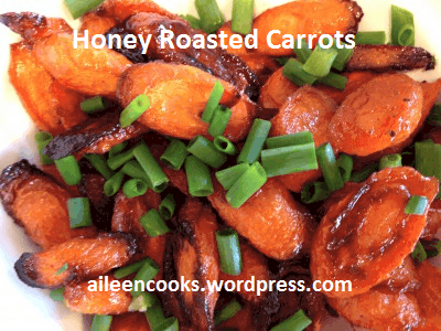 A delicious and hearty carrot side dish - baked with just a bit of honey and olive oil.