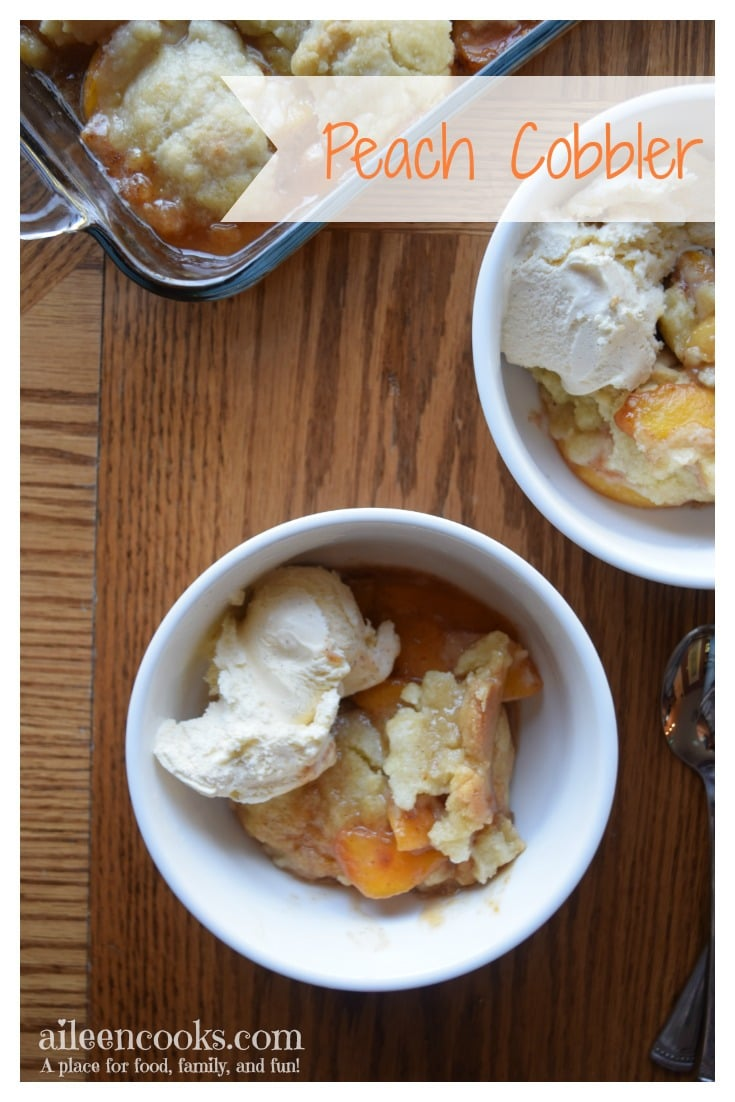 I make this peach cobbler recipe every year and have even made it with frozen peaches in winter to get my