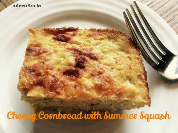 Cheesy Cornbread with Summer Squash is a baked cornbread casserole with grated summer squash (or zucchini) mixed right in. It's really cheesy and really good!