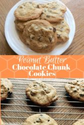 A collage photo of peanut butter chocolate chunk cookies on a white plate over a cooling rack filled with peanut butter chocolate chip cookies.