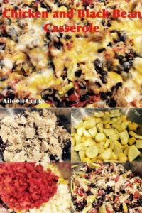 Collage of the ingredients for black bean casserole.