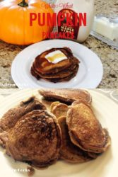 Collage photo of whole wheat pumpkin pancakes next to a pumpkin and bottle of maple syrup and a plate of healthy pumpkin pancakes.