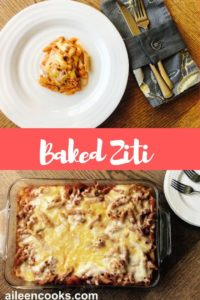 """Collage photo of cheesy casserole with words """"baked ziti"""""""