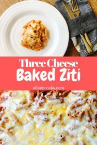 White plate of baked ziti above photo of baked ziti casserole.