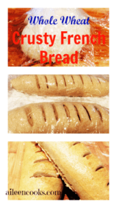 Collage photo showing dough and baked versions of whole wheat french bread.