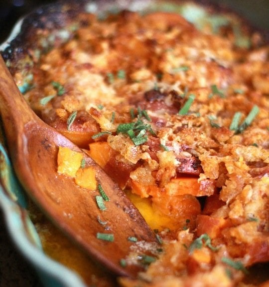 Sweet Potato Gratin with Smoky Breadcrumbs