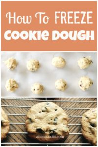 """A cookie sheet filled with rounds of frozen cookie dough with the words """"how to freeze cookie dough""""."""