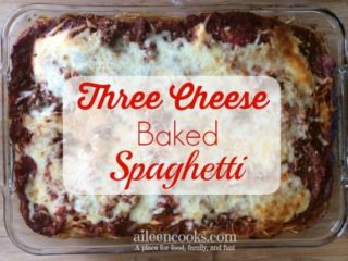 Three Cheese Baked Spaghetti