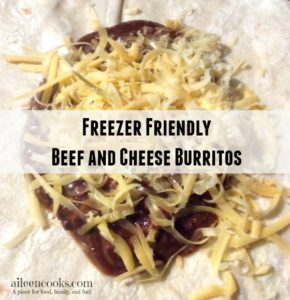 Make 20 burritos in under an hour with this easy recipe for Freezer Friendly Beef and Cheese Burritos from https://aileencooks.com