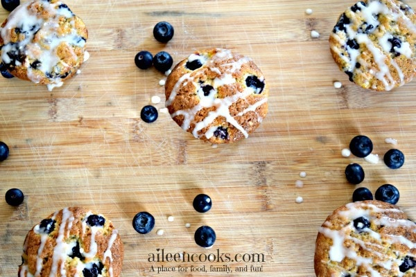 Banana Blueberry Muffins with vanilla glaze | https://aileencooks.com