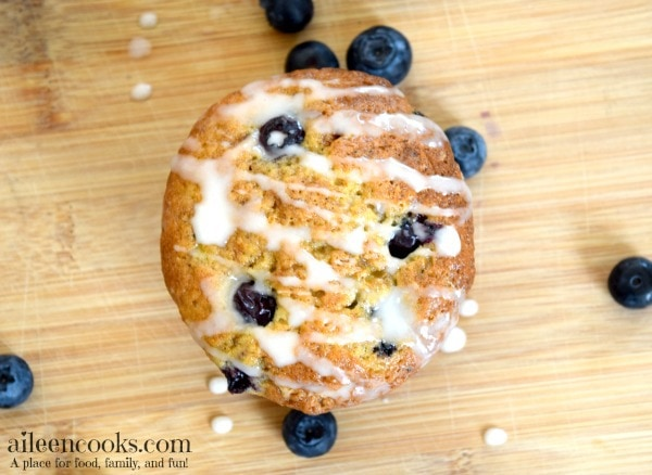 Banana Blueberry Muffins with vanilla glaze   https://aileencooks.com