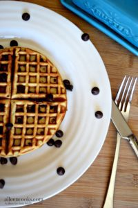 Chocolate Chip Blender Waffles are the perfect brunch recipe. They are easy to make and freezer friendly. Vegetarian. https://aileencooks.com