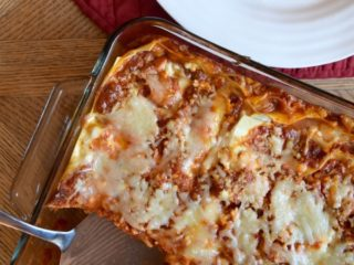 Roasted Garlic Three Cheese Lasagna