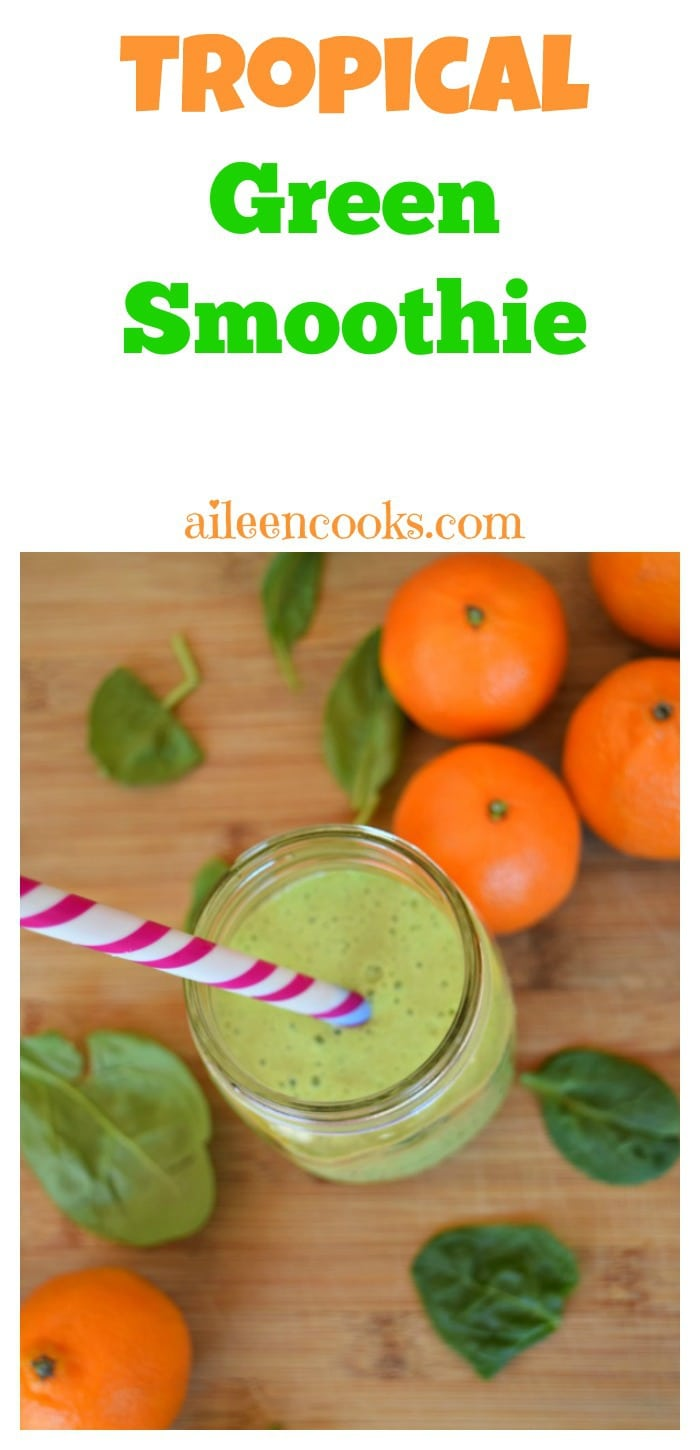 Tropical Green Smoothie made with mandarin oranges, pineapple, and spinach. Perfect for popsicles, too! https://aileencooks.com