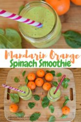 orange spinach smoothie with a purple striped straw next to a cutting board with smoothies on top.