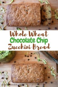 A collage photo of two loaves of whole wheat zucchini bread surrounded in chocolate chips.