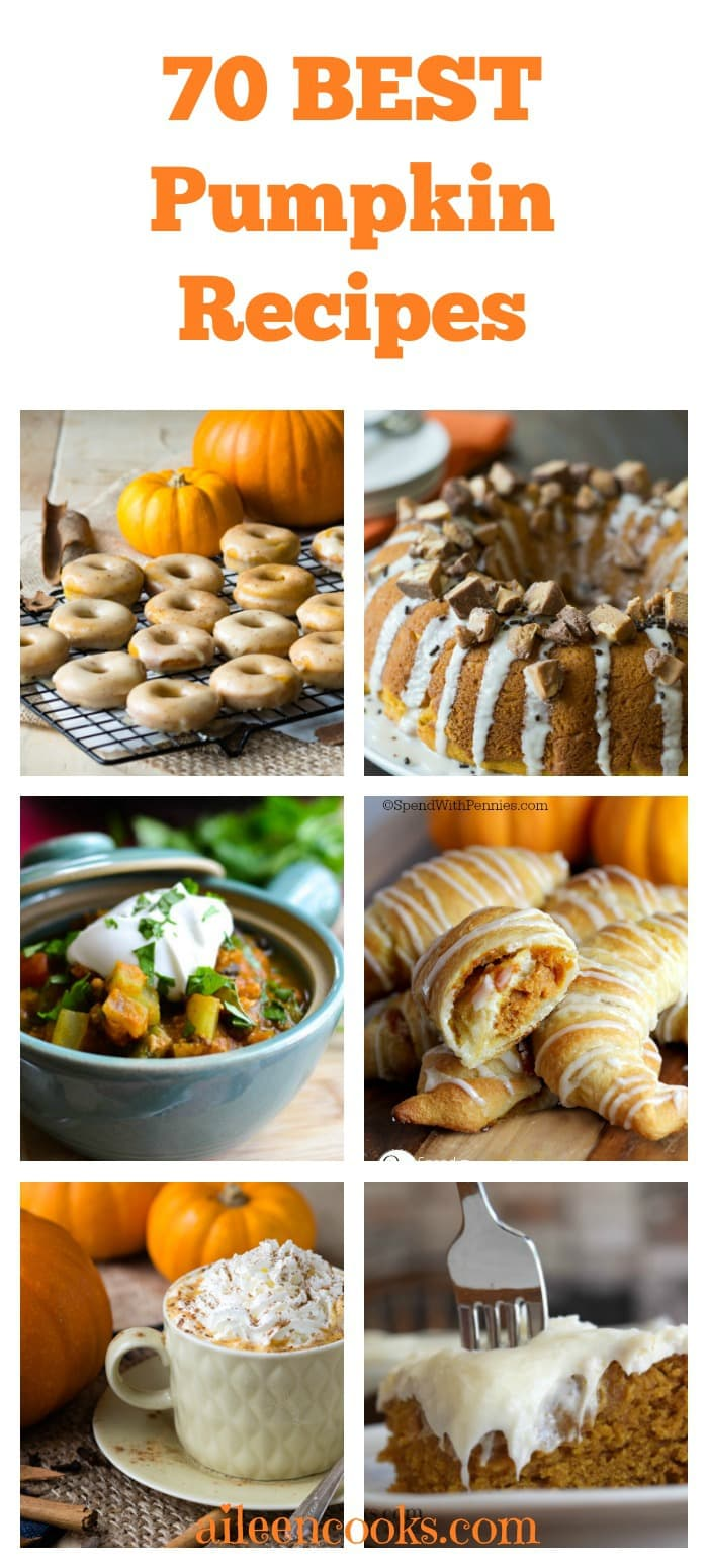 70 BEST pumpkin recipes for fall including savory pumpkin recipes, sweet pumpkin recipes, gluten free pumpkin recipes, and vegan pumpkin recipes. aileencooks.com