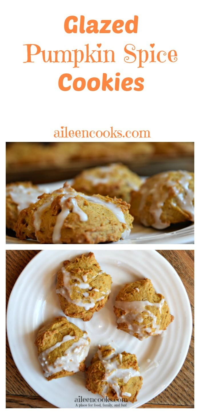 Enjoy a batch of these soft and cakey pumpkin spice cookies with vanilla glaze. They are the perfect treat for your pumpkin spice craving!