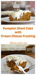 Two pictures of pumpkin pie sheet cake topped with cream cheese frosting.