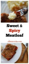Sweet and Spicy Meatloaf is a mixture of ground beef and sweet italian sausage plus a healthy dose of spices and veggies. It's the perfect family friendly comfort food dish. Recipe from aileencooks.com.
