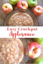 "Collage photo featuring red and green apples next to a glass dish of crockpot applesauce and the words ""easy crockpot applesauce"""