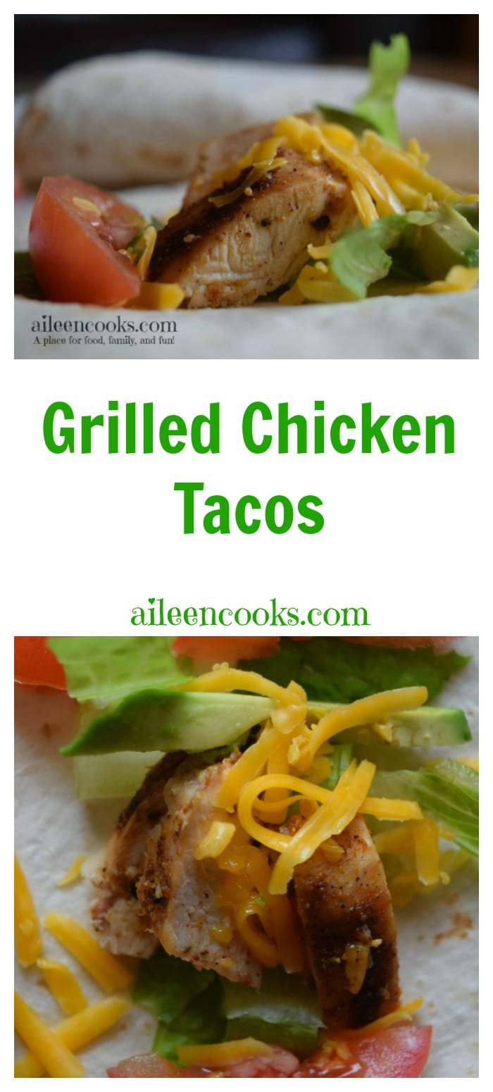 These simple and delicious real food grilled chicken tacos are the perfect recipe for your next taco night. Recipe from aileencooks.com.