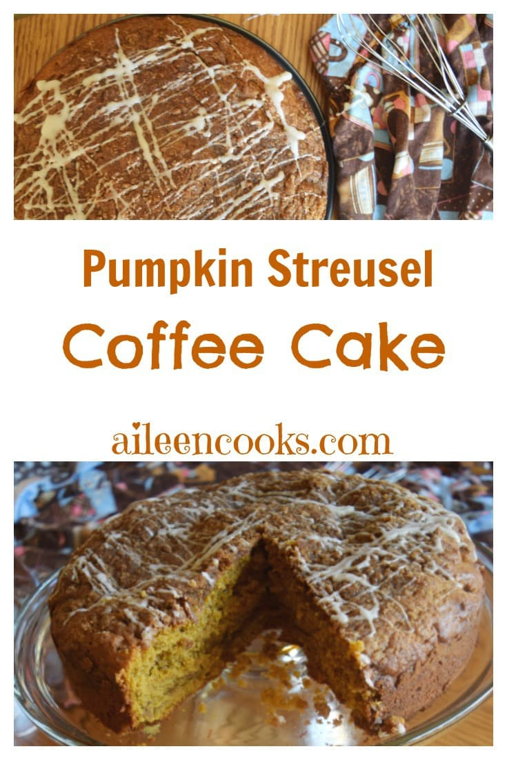 Pumpkin Streusel Coffee Cake topped with brown sugar streusel and sweet vanilla icing. Recipe from aileencooks.com. #ad