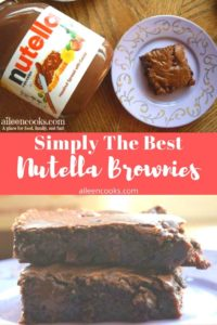 Collage photo of Nutella Brownies stacked up and some on a plate next to jar of nutella.
