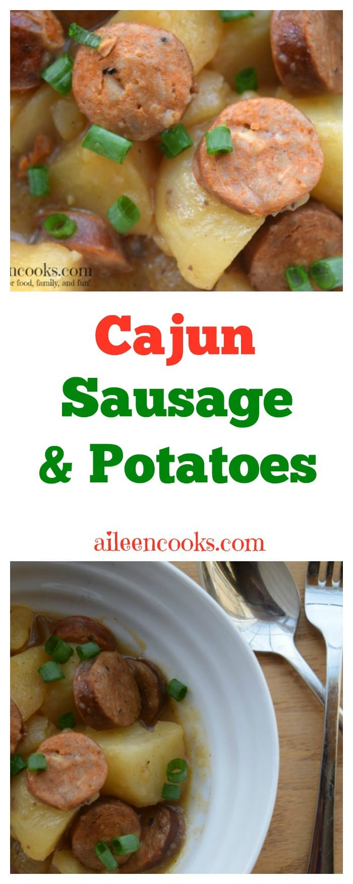 Crockpot Cajun Sausage and Potatoes is a delicious 5 ingredient recipe that's perfect for the cooler months.