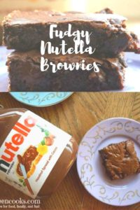 Collage photo of Nutella Brownies stacked up and brownies on a plate.