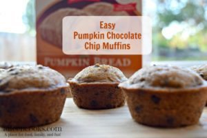 Quick and easy pumpkin chocolate chip muffins, perfect for breakfast, sports games, or pot lucks. This recipe takes 30 minutes and makes 3 dozen muffins! Recipe from aileencooks.com.