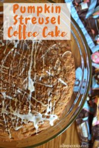 Pumpkin streusel coffee cake drizzled with vanilla icing.