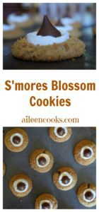S'mores blossom cookies topped with toasted marshmallows and Hershey's kisses. Perfect blossom cookie recipe for a Christmas, Valentine's Day, or cookie exchange Recipe from aileencooks.com.