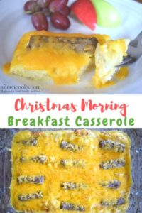 """Collage photo of two pictures of breakfast casserole with crescent rolls and words """"Christmas morning breakfast casserole""""."""