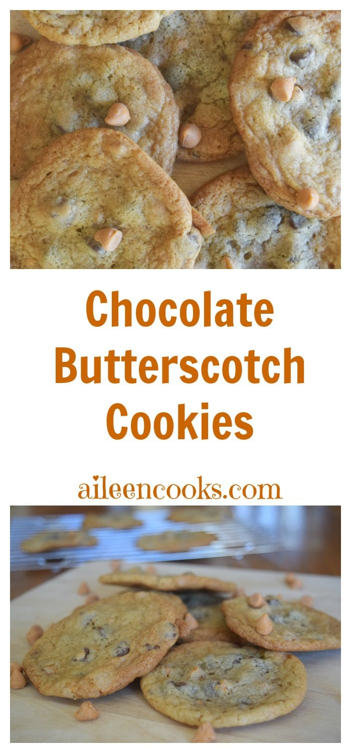 Chocolate butterscotch cookies are chewy with the classic buttery brown sugar butterscotch flavor. Recipe from aileencooks.com. cookie exchange recipe. christmas cookies. valentines day recipes.