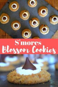 """Collage photo of blossom cookies with words """"s'mores blossom cookies"""""""