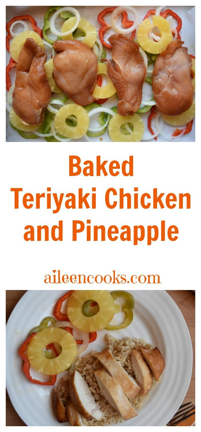 Baked Teriyaki Chicken with Pineapple, red and green peppers, and sweet onions. Served over a bed of brown rice. This easy weeknight meal is healthy and kid friendly. Recipe from aileencooks.com. #ad #stirupthefun @minutericeUS, @DoleSunshine, @kikkomanusa