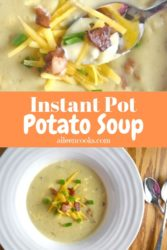 Collage photo of bowl of potato soup and spoonful of potato soup.