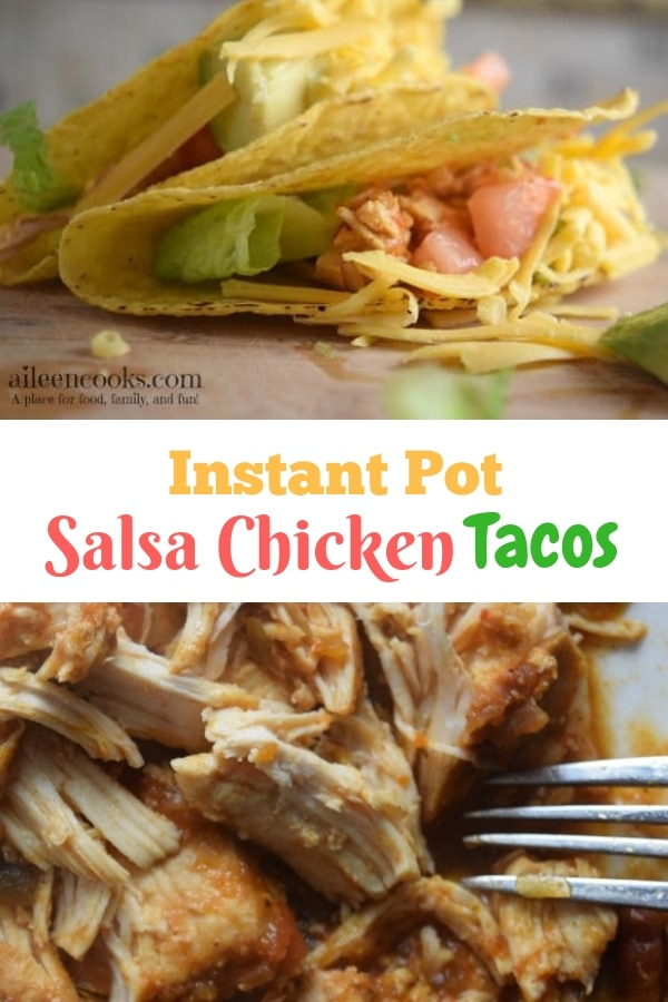 Instant pot salsa chicken tacos in crispy taco shells, served with lettuce and tomato.
