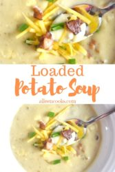 "Collage photo of potato soup with words ""loaded potato soup""."