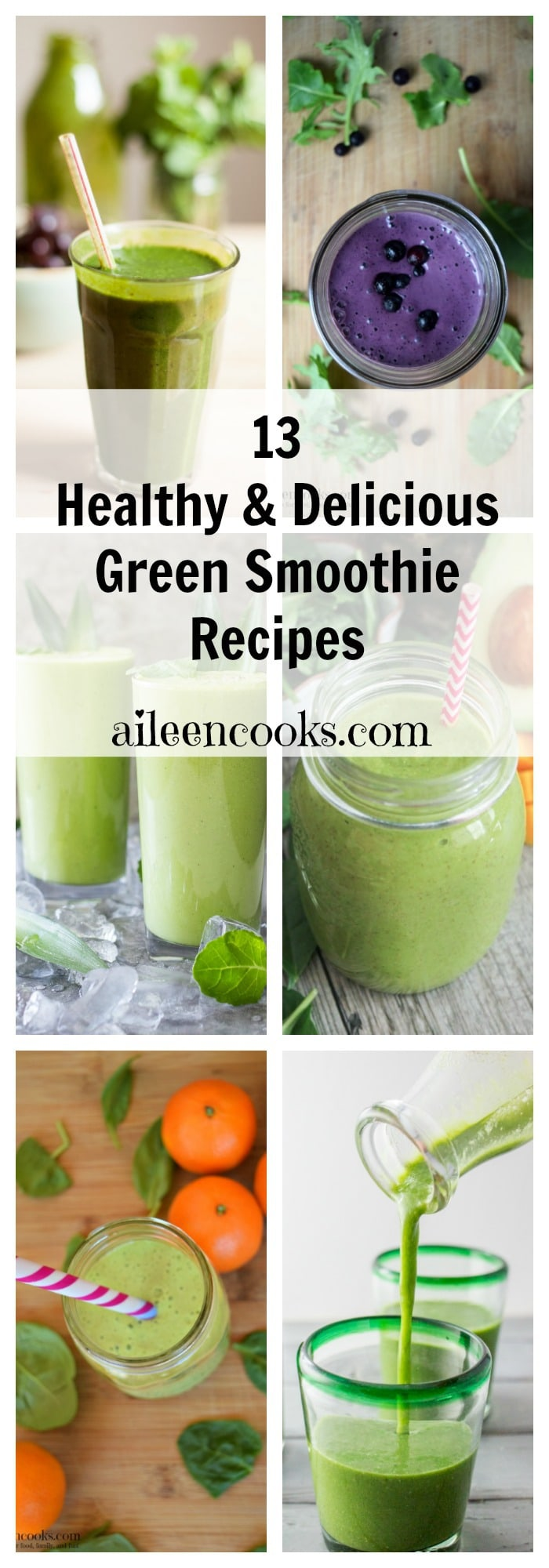 13 healthy green smoothies. Kale green smoothies. Spinach Green Smoothies. Purple Smoothies. Post from aileencooks.com.