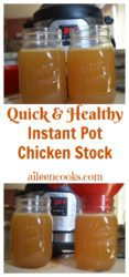 Make healthy and homemade chicken broth in under an hour with the instant pot! Recipe for Instant Pot Chicken Stock from aileencooks.com.