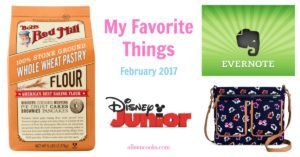 My Favorite Things. Target floral crossbody bag, Evernote, Disney Jr. App, Bob's Red Mill Whole Wheat Pastry Flour. Article from aileencooks.com.