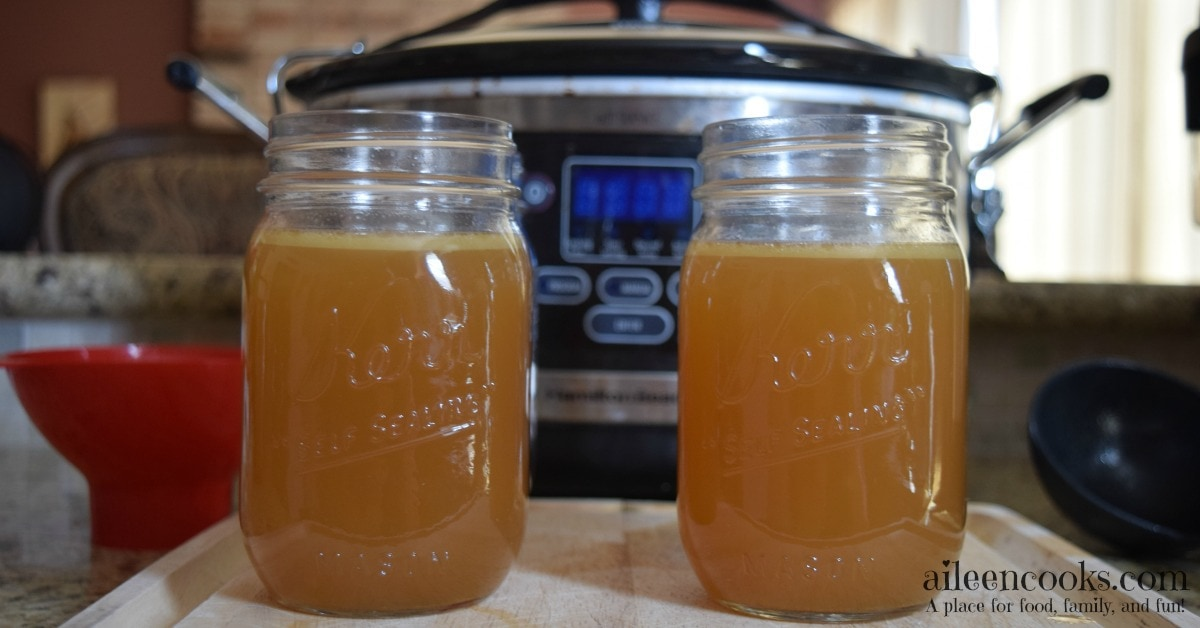 A frugal and healthy recipe for crockpot chicken stock cooked overnight while you sleep. Slow Cooker Chicken Broth recipe from aileencooks.com.