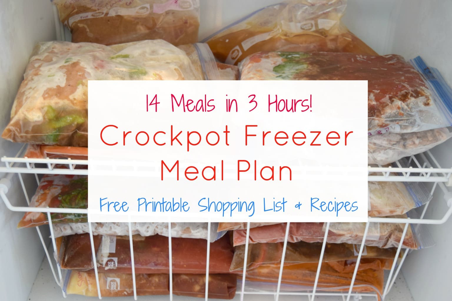 A freezer full of crockpot freezer meals.