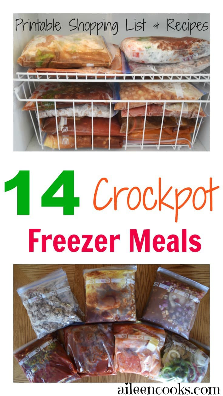 "A collage photo of crockpot freezer meals and the words ""14 crockpot freezer meals, Printable shopping list and recipes""."