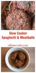 Make this family friendly version of spaghetti and meatballs in your crockpot slow cooker!