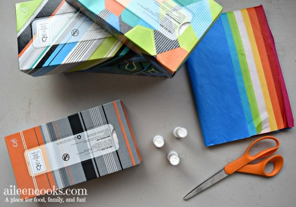Make your own Box Tops Holder using crepe paper and a tissue box. This is a fun and easy project for kids getting ready for kindergarten!