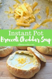 """Collage photo of soup and words """"instant pot broccoli cheddar soup"""""""