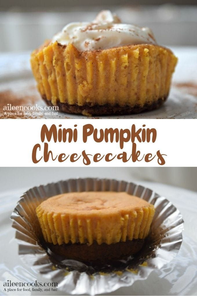Collage photo of mini pumpkin cheesecakes, one with whipped topping and one without.